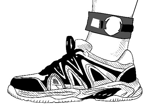 A foot with ankle bracelet and chip